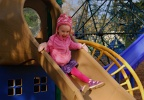 Playing at Grasslawn Park in Redmond on New Year's Day: Elsa on a slide
